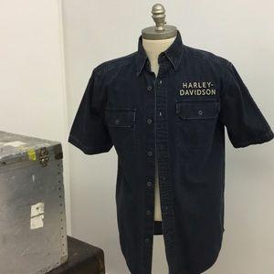 Men's Harley Davidson MD denim short sleeve shirt